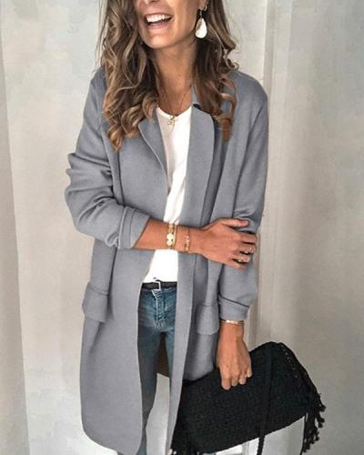 Solid Color Long-sleeved Fake Pocket Casual Suit Jacket(6 Colors)