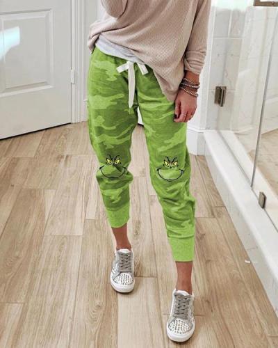 Grinch Stole Christmas Geek Camouflage Print Paneled Self-tie Pants