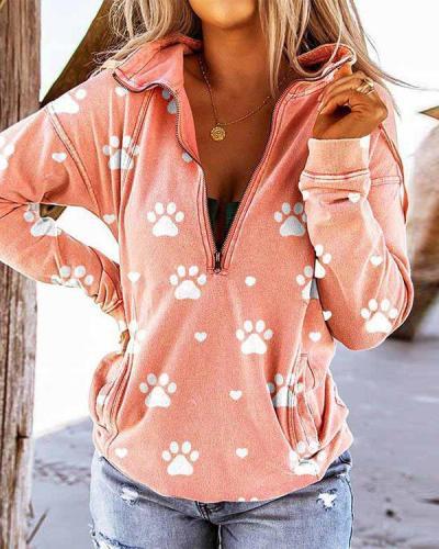Women's Dog Paw Print Long-sleeved Loose Sweatshirt