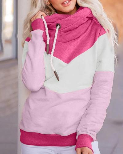 Casual Long Sleeve Patchwork Sweatshirt