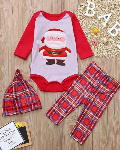 Baby's Cotton Christmas Santa Claus Plaid Parent-Child Loungewear