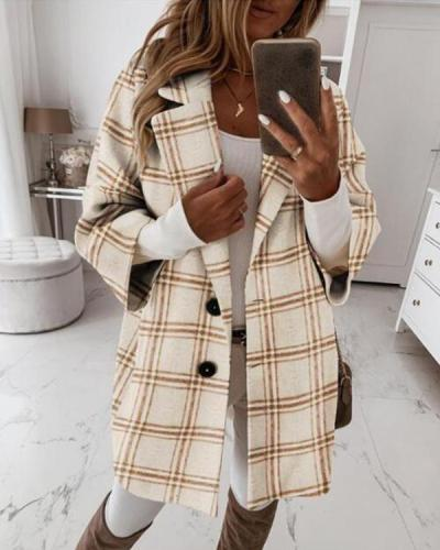 Check Wool Blend Casual Shawl Collar Coats Outerwear