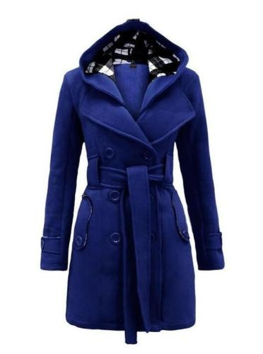 Wool & Wool Blend Long Sleeve Hooded Sashes Buttons Pockets Duffle Coats