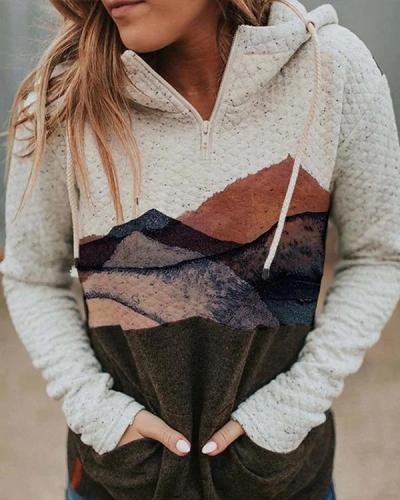 Women Color Block Long Sleeves Sweatshirt