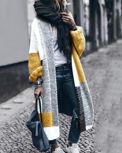 Wool Contrast Color Long Sweater Cardigan