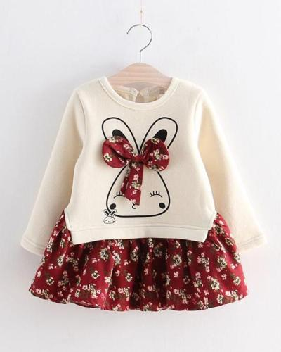 Baby / Toddler Faux-two Bunny Print Floral Dresses
