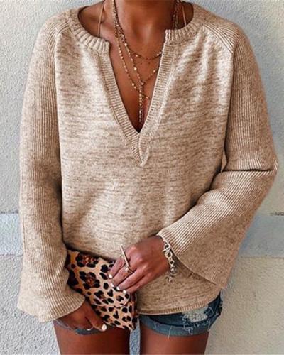 Women's V Neck Flare Sleeve Sweaters