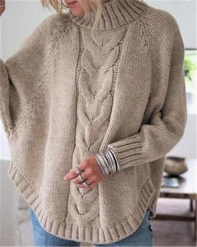 Batwing Sleeve Women Solid Pullover Sweater Women Tops