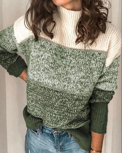 Color Block Contrast Knitted Turtleneck Pullover Sweater