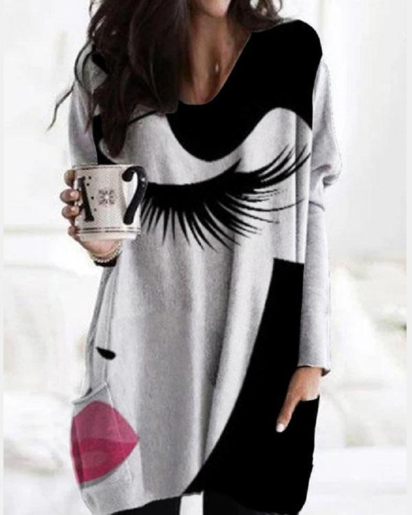 Casual Character Tunic V-Neckline Shift Blouse With Pockets