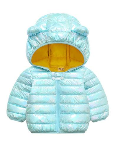 Toddler Solid Color Ears Hooded Coat