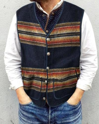 Casual Striped Colorblock Men's Vest