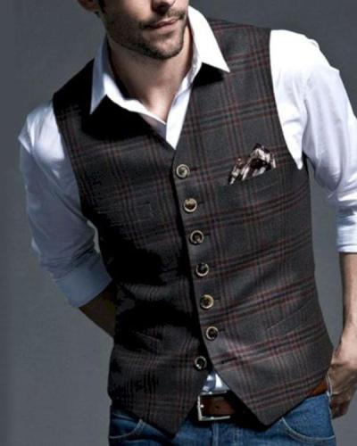 Men's Business Casual Plaid Vest