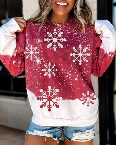 Women's Christmas Snowflake Print Long Sleeves Casual Sweatshirt
