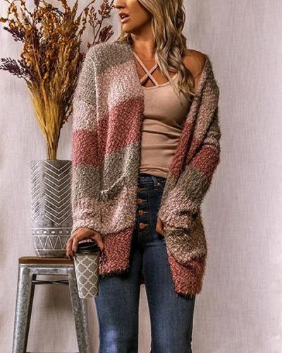 Long Striped Cardigan Long Sleeve Sweater