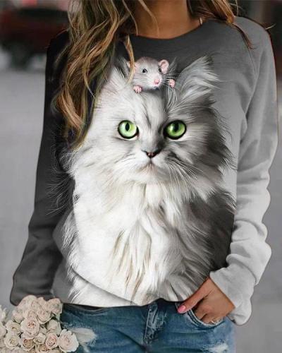 Cute Cat Digital Printed Sweatshirt
