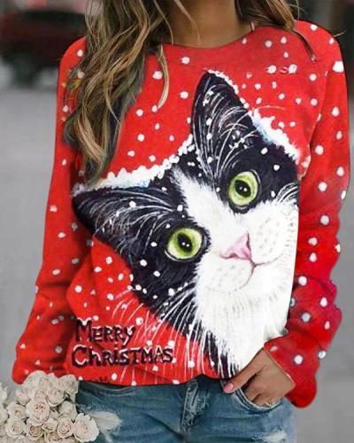 Christmas Cute Cat Digital Printed Red Sweatshirt