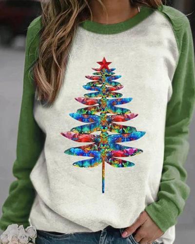 Colorful Gradient Dragonfly Christmas Tree Print Raglan Sleeves Color-block T-shirt