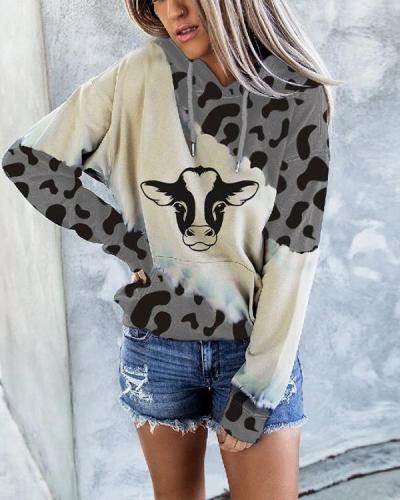 Women's Cow Print Crew Neck Sweatshirt