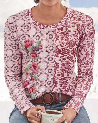 Ladies Casual Pullover Round Neck Printed T-shirt