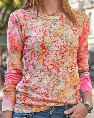 Gradient Floral Print Vacation Paneled Long Sleeves T-shirt