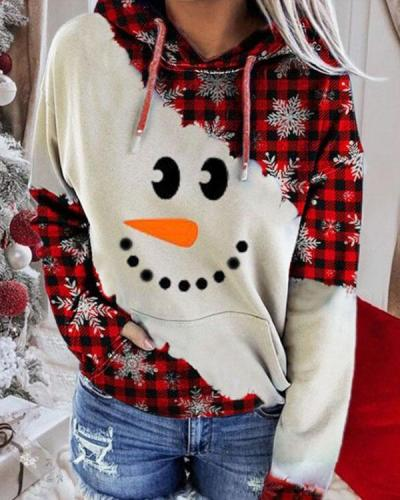 Christmas Color Block Snowman Face Print Hoodie