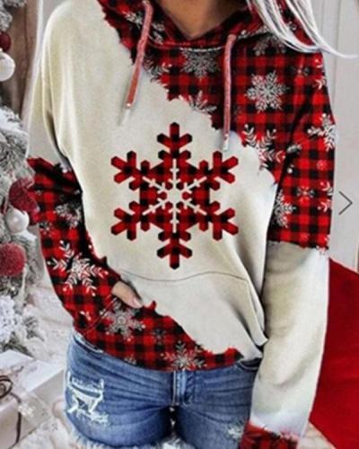Christmas Color Block Snowflake Print Hoodie