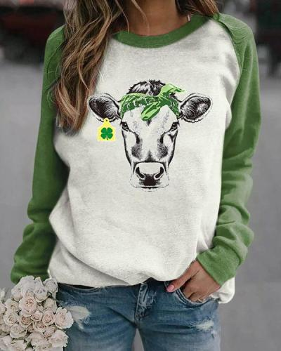 4 Leaf Clover Cow Contrast Color Pullover