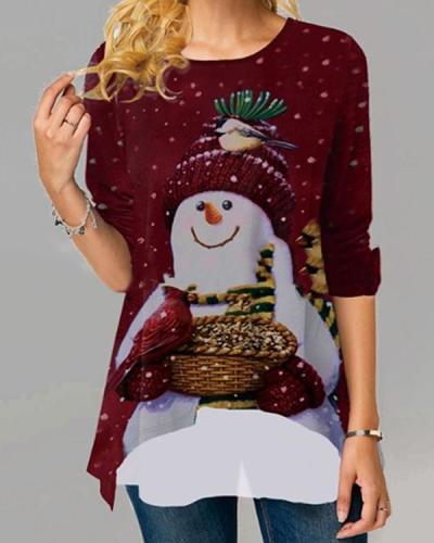 Christmas Snowman A-line Long Sleeve T-shirt