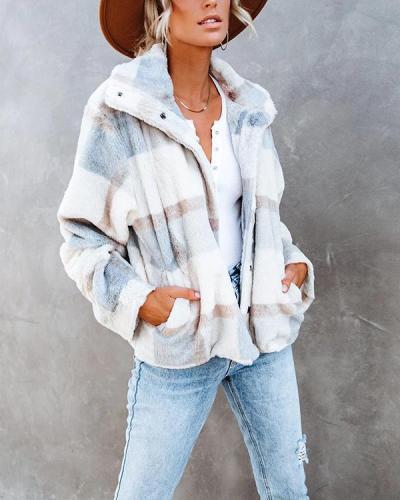 Women's Plaid Plush Warm Coat