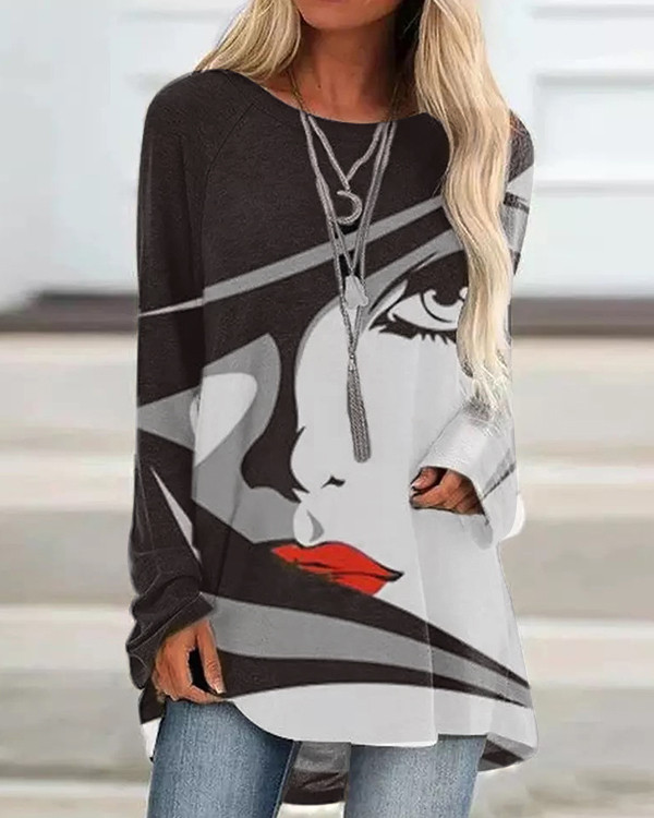 Character Casual Round Neckline Long Sleeve Blouses