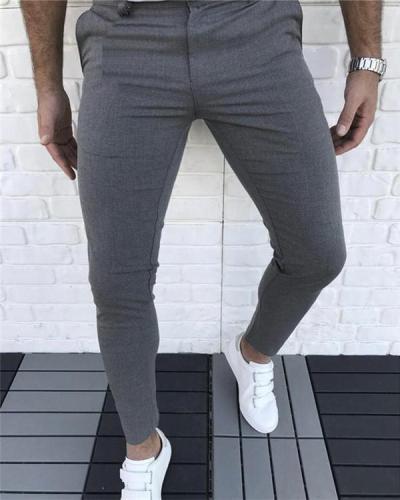 Casual Zipper Fly Skinny Pants
