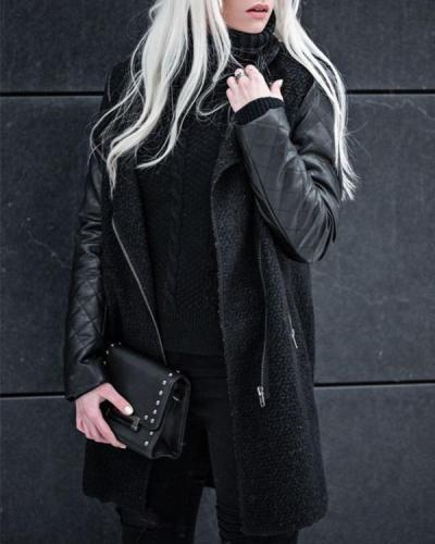 Black Fashion Long Sleeve Coat