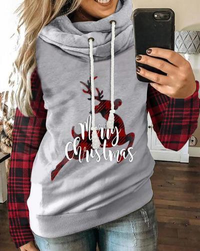 Color-Block Long Sleeve Christmas Elk&Car Print Hoodies