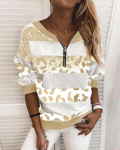 Leopard Print Striped V-Neck Long Sleeves Sweatshirt
