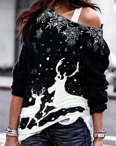 Women's One Shoulder Christmas Elk&Snowflake Blouses