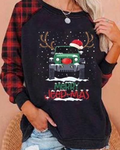 Christmas Merry Jeep-Mas Plaid Tops