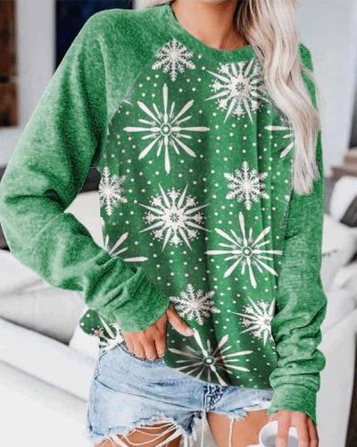 Christmas Snowflake Print Green Tops