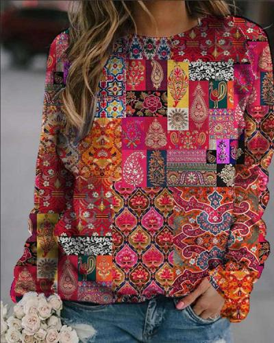 Print Round Neck Long Sleeves Tops For Women