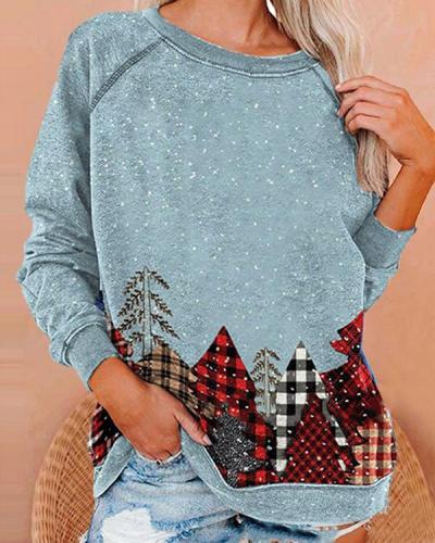 Plaid Christmas Tree Print Cute Sweatshirt