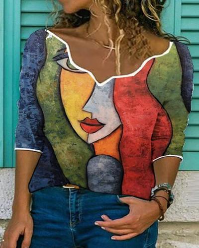 Women Character Print V Neck 3/4 Sleeve Shirts&Tops