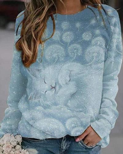 Women Sleeping Cat Print Casual O Neck Pullover Shirts&Tops
