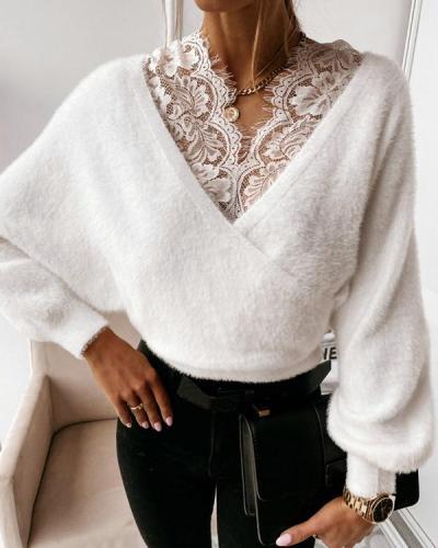 Women Flannel Double V neck Plain Lace Decor Sweater