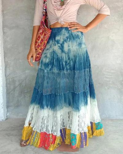 Vintage Tie Dye Patchwork Elastic Waist Maxi Skirt