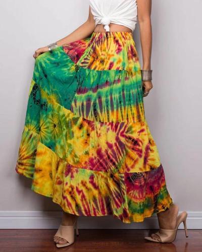 Vintage Gradient Print Paneled Elastic Maxi Skirt