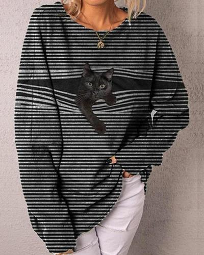 Casual Stripe Black Cat Long Sleeve Pullover T-shirts