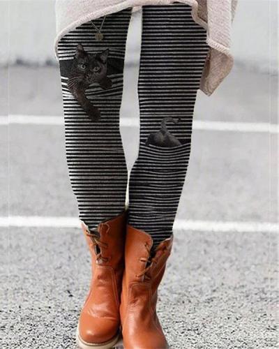 Stripe Cat Print Leggings Casual Milk Fabric Pants