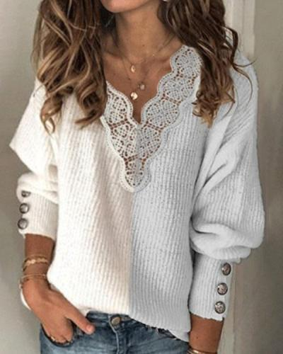 V-Neckline Color Block Casual Loose Regular Sweaters