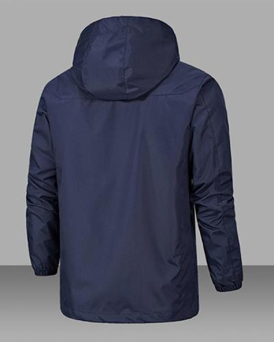 Windproof Warm Solid Color Lightweight Hooded Zipper Fashion Male Coat