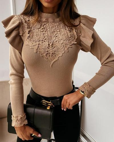 Long Sleeve Round Neck Lace Decorative Solid Color Shirt